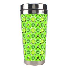 Vibrant Abstract Tropical Lime Foliage Lattice Stainless Steel Travel Tumblers by DianeClancy
