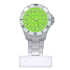 Vibrant Abstract Tropical Lime Foliage Lattice Plastic Nurses Watch by DianeClancy