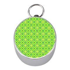 Vibrant Abstract Tropical Lime Foliage Lattice Mini Silver Compasses