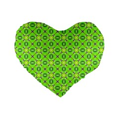 Vibrant Abstract Tropical Lime Foliage Lattice Standard 16  Premium Flano Heart Shape Cushions by DianeClancy