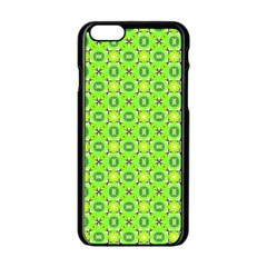 Vibrant Abstract Tropical Lime Foliage Lattice Apple Iphone 6/6s Black Enamel Case by DianeClancy
