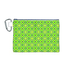 Vibrant Abstract Tropical Lime Foliage Lattice Canvas Cosmetic Bag (m) by DianeClancy