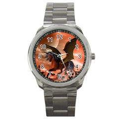 Wonderful Dark Unicorn In The Night Sport Metal Watch by FantasyWorld7