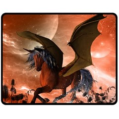 Wonderful Dark Unicorn In The Night Fleece Blanket (medium)  by FantasyWorld7