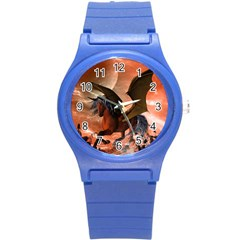 Wonderful Dark Unicorn In The Night Round Plastic Sport Watch (s) by FantasyWorld7
