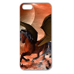 Wonderful Dark Unicorn In The Night Apple Seamless Iphone 5 Case (clear) by FantasyWorld7