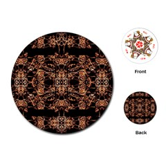 Dark Ornate Abstract  Pattern Playing Cards (round)