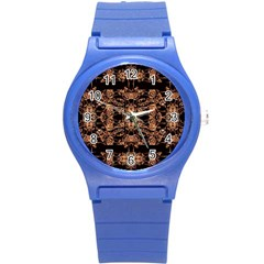 Dark Ornate Abstract  Pattern Round Plastic Sport Watch (s) by dflcprints