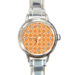 Peach Pineapple Abstract Circles Arches Round Italian Charm Watch by DianeClancy
