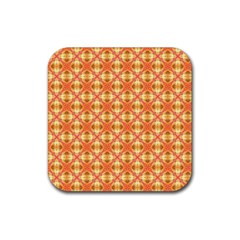 Peach Pineapple Abstract Circles Arches Rubber Coaster (square)  by DianeClancy