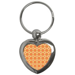 Peach Pineapple Abstract Circles Arches Key Chains (heart)  by DianeClancy