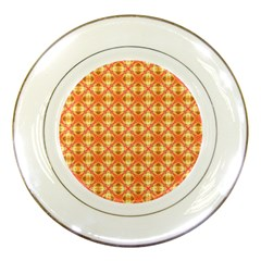 Peach Pineapple Abstract Circles Arches Porcelain Plates by DianeClancy