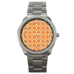 Peach Pineapple Abstract Circles Arches Sport Metal Watch by DianeClancy