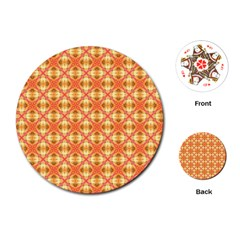 Peach Pineapple Abstract Circles Arches Playing Cards (round)  by DianeClancy