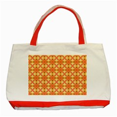 Peach Pineapple Abstract Circles Arches Classic Tote Bag (red) by DianeClancy