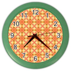Peach Pineapple Abstract Circles Arches Color Wall Clocks by DianeClancy