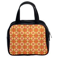 Peach Pineapple Abstract Circles Arches Classic Handbags (2 Sides) by DianeClancy