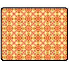 Peach Pineapple Abstract Circles Arches Fleece Blanket (medium)  by DianeClancy