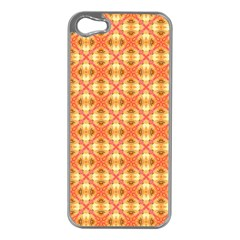 Peach Pineapple Abstract Circles Arches Apple Iphone 5 Case (silver) by DianeClancy