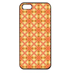 Peach Pineapple Abstract Circles Arches Apple Iphone 5 Seamless Case (black) by DianeClancy