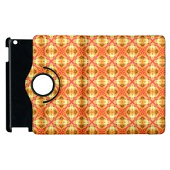 Peach Pineapple Abstract Circles Arches Apple Ipad 2 Flip 360 Case by DianeClancy