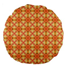 Peach Pineapple Abstract Circles Arches Large 18  Premium Round Cushions by DianeClancy