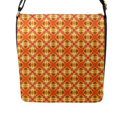 Peach Pineapple Abstract Circles Arches Flap Messenger Bag (l)  by DianeClancy
