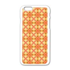 Peach Pineapple Abstract Circles Arches Apple Iphone 6/6s White Enamel Case by DianeClancy
