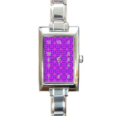 Abstract Dancing Diamonds Purple Violet Rectangle Italian Charm Watch by DianeClancy