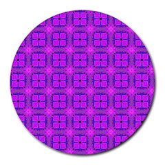Abstract Dancing Diamonds Purple Violet Round Mousepads by DianeClancy