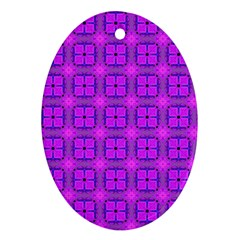 Abstract Dancing Diamonds Purple Violet Ornament (oval)  by DianeClancy