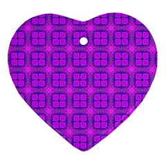 Abstract Dancing Diamonds Purple Violet Ornament (heart)  by DianeClancy