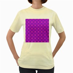 Abstract Dancing Diamonds Purple Violet Women s Yellow T Shirt by DianeClancy