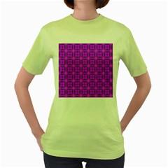 Abstract Dancing Diamonds Purple Violet Women s Green T Shirt by DianeClancy