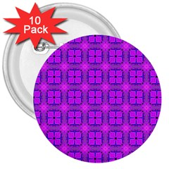 Abstract Dancing Diamonds Purple Violet 3  Buttons (10 Pack)  by DianeClancy