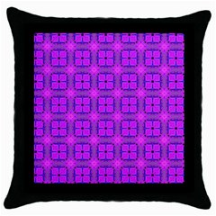 Abstract Dancing Diamonds Purple Violet Throw Pillow Case (black) by DianeClancy