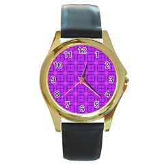 Abstract Dancing Diamonds Purple Violet Round Gold Metal Watch by DianeClancy