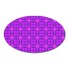 Abstract Dancing Diamonds Purple Violet Oval Magnet by DianeClancy
