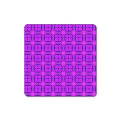 Abstract Dancing Diamonds Purple Violet Square Magnet by DianeClancy