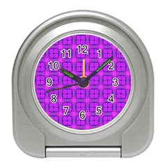 Abstract Dancing Diamonds Purple Violet Travel Alarm Clocks by DianeClancy