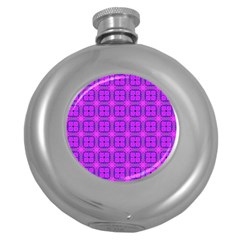 Abstract Dancing Diamonds Purple Violet Round Hip Flask (5 Oz) by DianeClancy