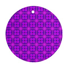 Abstract Dancing Diamonds Purple Violet Round Ornament (two Sides)  by DianeClancy