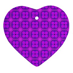 Abstract Dancing Diamonds Purple Violet Heart Ornament (2 Sides) by DianeClancy