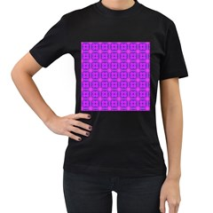 Abstract Dancing Diamonds Purple Violet Women s T Shirt (black) by DianeClancy