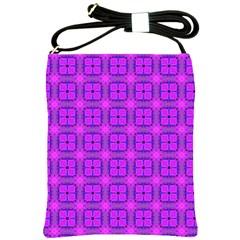 Abstract Dancing Diamonds Purple Violet Shoulder Sling Bags by DianeClancy