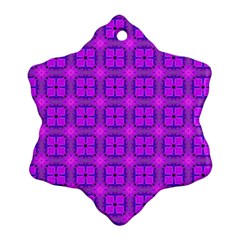 Abstract Dancing Diamonds Purple Violet Ornament (snowflake)  by DianeClancy