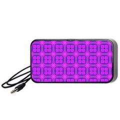 Abstract Dancing Diamonds Purple Violet Portable Speaker (black)  by DianeClancy
