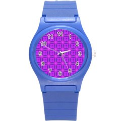Abstract Dancing Diamonds Purple Violet Round Plastic Sport Watch (s) by DianeClancy