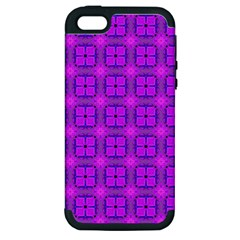 Abstract Dancing Diamonds Purple Violet Apple Iphone 5 Hardshell Case (pc+silicone) by DianeClancy