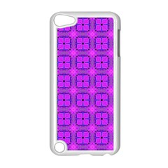 Abstract Dancing Diamonds Purple Violet Apple Ipod Touch 5 Case (white) by DianeClancy